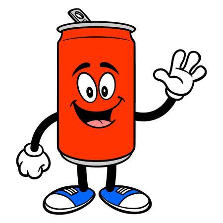 Soda Can Mascot Waving - A vector cartoon illustration of a Soda can mascot waving.