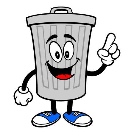 Trash Can Mascot Pointing - A vector cartoon illustration of a aluminum Trash Can mascot pointing. Ilustração