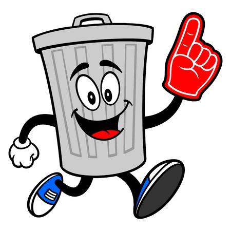 Trash Can Mascot running with a Foam Finger - A vector cartoon illustration of a aluminum Trash Can mascot running with a Foam Finger.