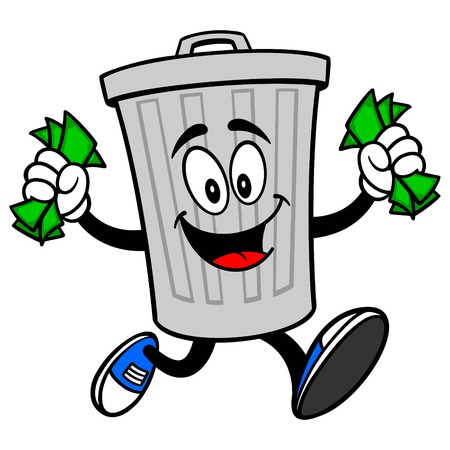 Trash Can Mascot running with Money - A vector cartoon illustration of a aluminum Trash Can mascot running with Money.