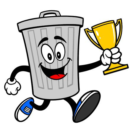 Trash Can Mascot running with a Trophy - A vector cartoon illustration of a aluminum Trash Can mascot running with a Trophy.