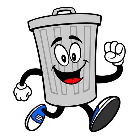 Trash Can Mascot Running - A vector cartoon illustration of a aluminum Trash Can mascot running.
