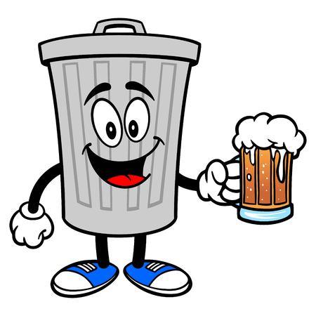 Trash Can Mascot with a Beer - A vector cartoon illustration of a aluminum Trash Can mascot holding a mug of Beer.