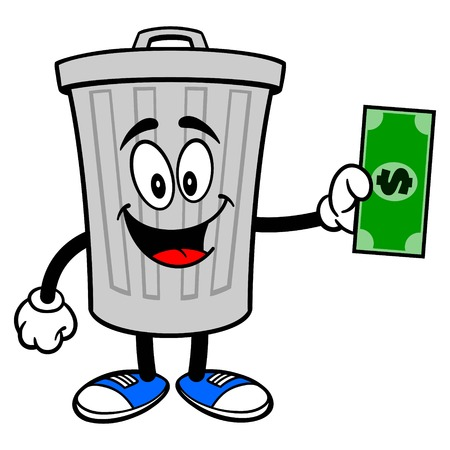 Trash Can Mascot with a Dollar - A vector cartoon illustration of a aluminum Trash Can mascot holding a Dollar. Ilustração
