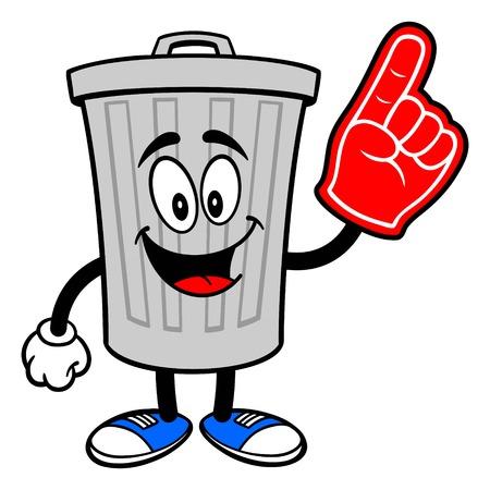 Trash Can Mascot with a Foam Finger - A vector cartoon illustration of a aluminum Trash Can mascot with a Foam Hand. Ilustração