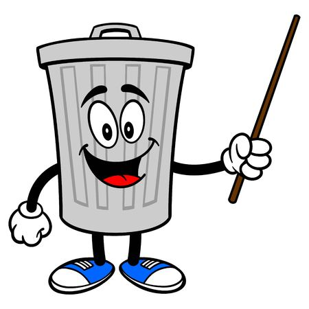 Trash Can Mascot with a Pointer - A vector cartoon illustration of a aluminum Trash Can mascot with a Pointer stick.