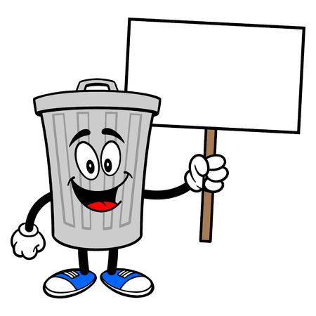 Trash Can Mascot with a Sign - A vector cartoon illustration of a aluminum Trash Can mascot holding a blank Sign. Illustration