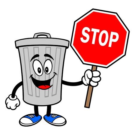 Trash Can Mascot with a Stop Sign - A vector cartoon illustration of a aluminum Trash Can mascot holding a Stop Sign. Ilustração