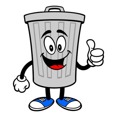 Trash Can Mascot with Thumbs Up - A vector cartoon illustration of a aluminum Trash Can mascot holding a Thumbs up.