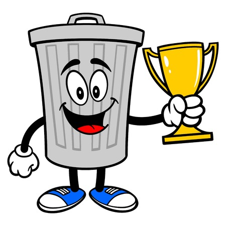 Trash Can Mascot with a Trophy - A vector cartoon illustration of a aluminum Trash Can mascot holding a Trophy. Ilustração