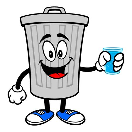 Trash Can Mascot with a glass of Water - A vector cartoon illustration of a aluminum Trash Can mascot holding a glass of Water.