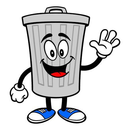Trash Can Mascot Waving - A vector cartoon illustration of a aluminum Trash Can mascot waving.