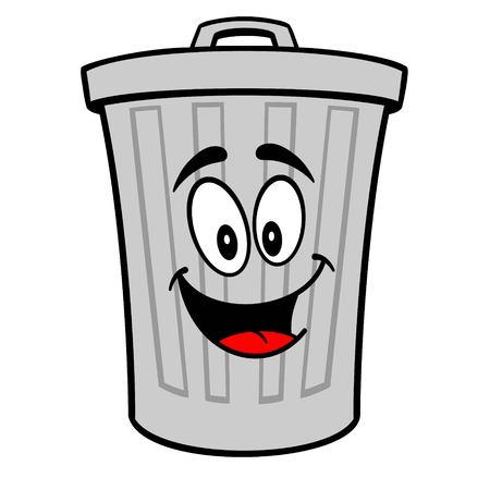 Mascotte de poubelle - Une illustration de dessin animé de vecteur d'une mascotte de poubelle en aluminium.