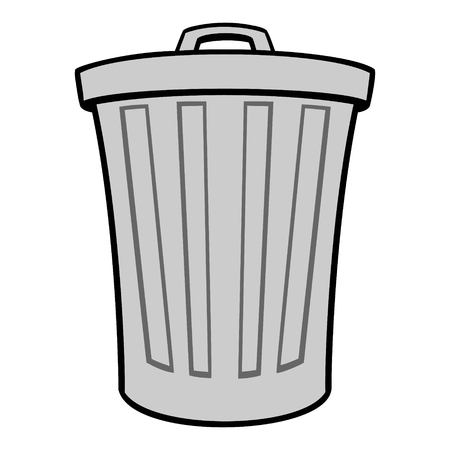 Trash Can - A vector cartoon illustration of a aluminum Trash Can.