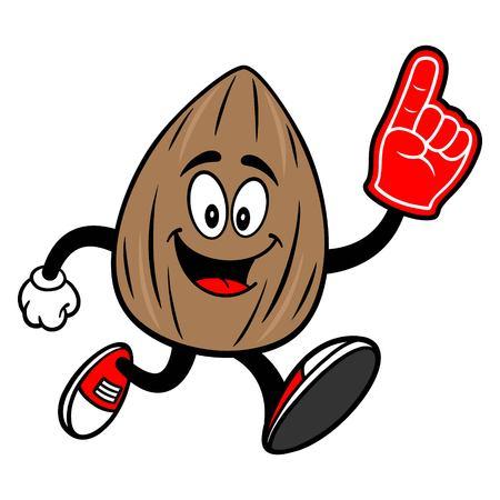 Almond Mascot running with a Foam Finger - A vector cartoon illustration of a Almond mascot running with a Foam Hand.