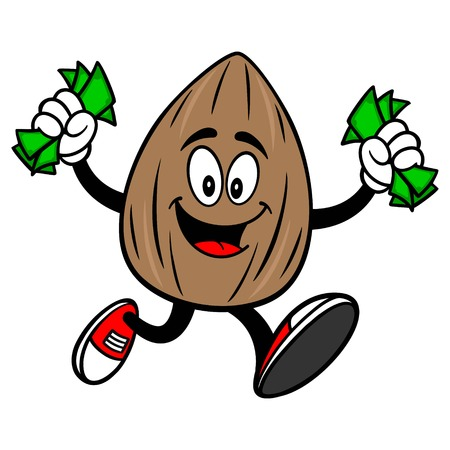 Almond Mascot running with Money - A vector cartoon illustration of a Almond mascot running with money.