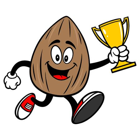 Almond Mascot running with a Trophy - A vector cartoon illustration of a Almond mascot running with a Trophy.