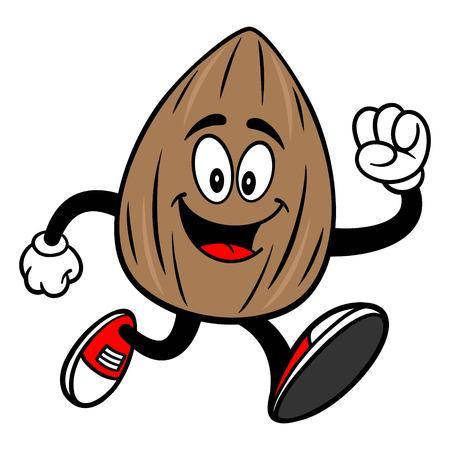 Almond Mascot Running - A vector cartoon illustration of a Almond mascot running.