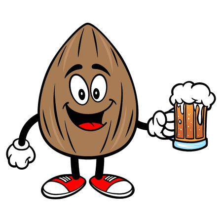 Almond Mascot with a Beer - A vector cartoon illustration of a Almond mascot holding a mug of Beer.