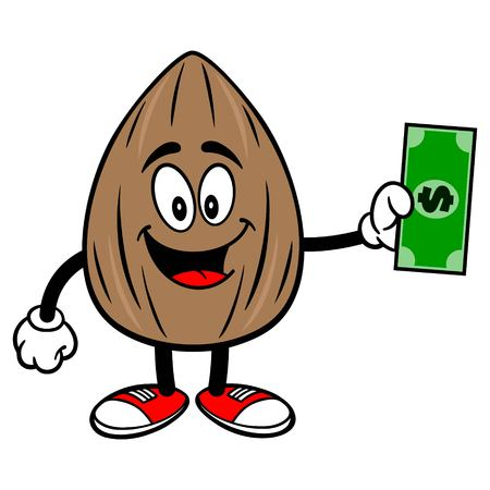 Almond Mascot with a Dollar - A vector cartoon illustration of a Almond mascot holding a Dollar.