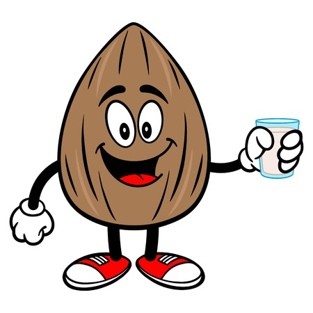 Almond Mascot with a glass of Milk - A vector cartoon illustration of a Almond mascot with a glass of Milk. Çizim