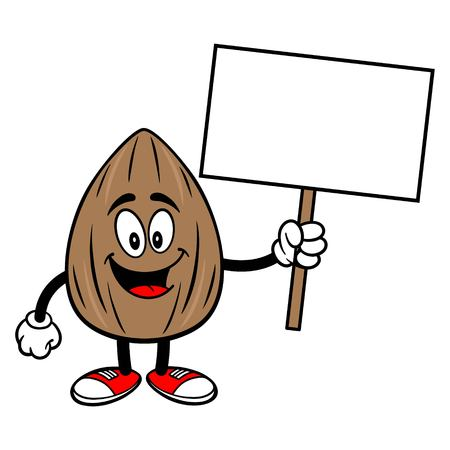 Almond Mascot with a Sign - A vector cartoon illustration of a Almond mascot with a blank Sign.