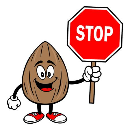 Almond Mascot with a Stop Sign - A vector cartoon illustration of a Almond mascot with a Stop Sign.