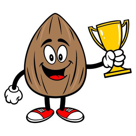 Almond Mascot with a Trophy - A vector cartoon illustration of a Almond mascot holding a Trophy. Çizim