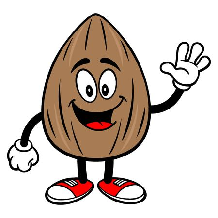 Almond Mascot Waving - A vector cartoon illustration of a Almond mascot waving.