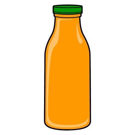 Botella de jugo de naranja: una ilustración de dibujos animados de vector de una botella de jugo de naranja.
