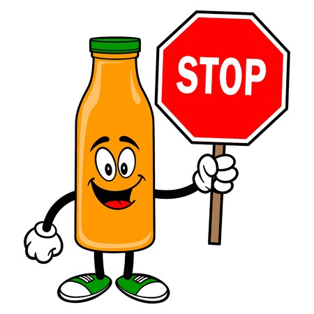 Orange Juice Mascot with Stop Sign - A vector cartoon illustration of a Orange Juice Mascot with a Stop Sign. 일러스트