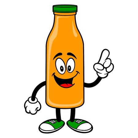 Orange Juice Mascot Pointing - A vector cartoon illustration of a Orange Juice Mascot pointing. 일러스트