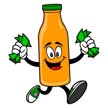 Orange Juice Mascot running with Money - A vector cartoon illustration of a Orange Juice Mascot running with Money.