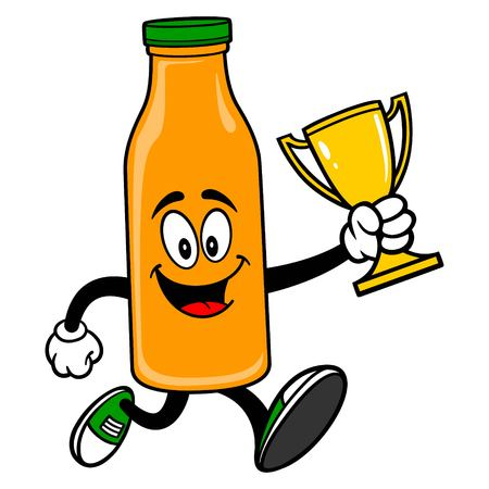Orange Juice Mascot running with a Trophy - A vector cartoon illustration of a Orange Juice Mascot running with a Trophy.