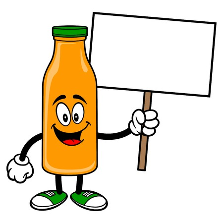 Orange Juice Mascot holding a Sign - A vector cartoon illustration of a Orange Juice Mascot holding a blank Sign.