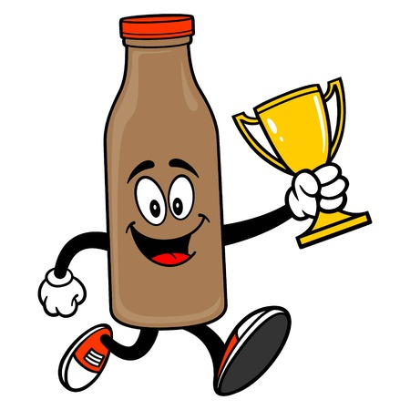 Chocolate Milk Mascot running with a Trophy - A vector cartoon illustration of a Chocolate Milk Mascot running with a Trophy.