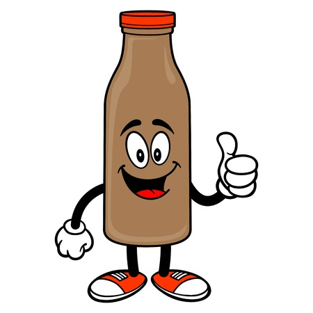 Chocolate Milk Mascot with Thumbs Up - A vector cartoon illustration of a Chocolate Milk Mascot holding a Thumbs Up.