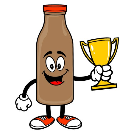 Chocolate Milk Mascot holding a Trophy - A vector cartoon illustration of a Chocolate Milk Mascot holding a Trophy. Ilustrace