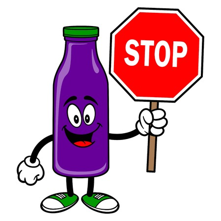 Grape Juice Mascot with Stop Sign - A vector cartoon illustration of a Grape Juice Mascot with a Stop Sign.