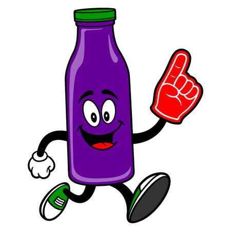 Grape Juice Mascot running with a Foam Hand