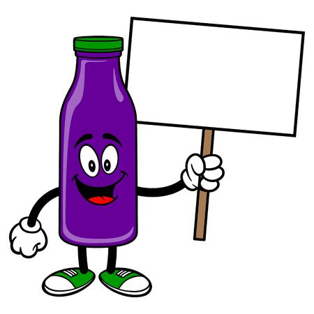 Grape Juice Mascot holding a Sign - A vector cartoon illustration of a Grape Juice Mascot holding a blank Sign.