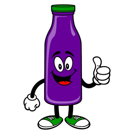 Grape Juice Mascot with Thumbs Up - A vector cartoon illustration of a Grape Juice Mascot holding a Thumbs Up.