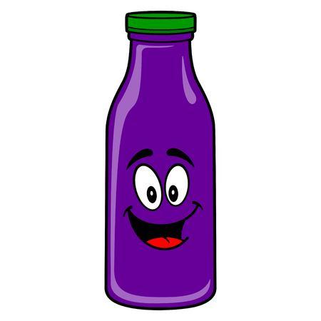 Grape Juice Mascot - A vector cartoon illustration of a Grape Juice Mascot.