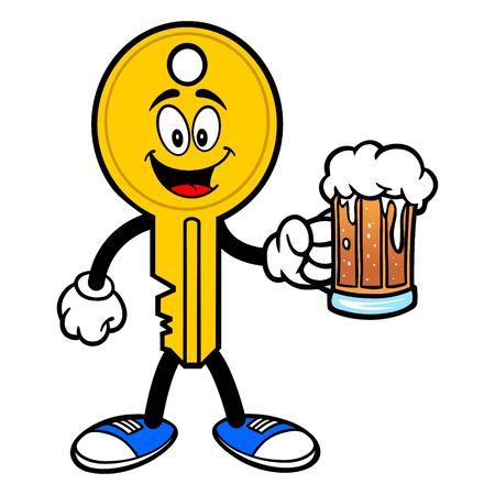 Key Mascot with Beer - A vector cartoon illustration of a car key mascot.