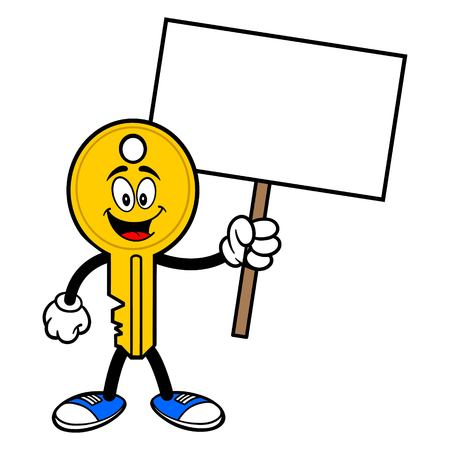 Key Mascot with a Sign - A vector cartoon illustration of a car key mascot holding a blank Sign.