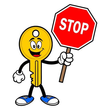 Key Mascot with a Stop Sign - A vector cartoon illustration of a car key mascot holding a Stop Sign.