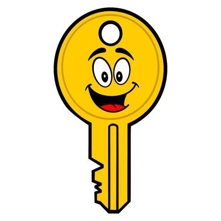 Key Mascot - A vector cartoon illustration of a car key mascot.