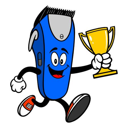 Electrical Hair Clipper Mascot running with a Trophy - A vector cartoon illustration of a barber shop electrical hair clipper mascot running with a Trophy.