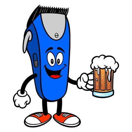 Electrical Hair Clipper Mascot with a Beer - A vector cartoon illustration of a barber shop electrical hair clipper mascot holding a Beer.  イラスト・ベクター素材