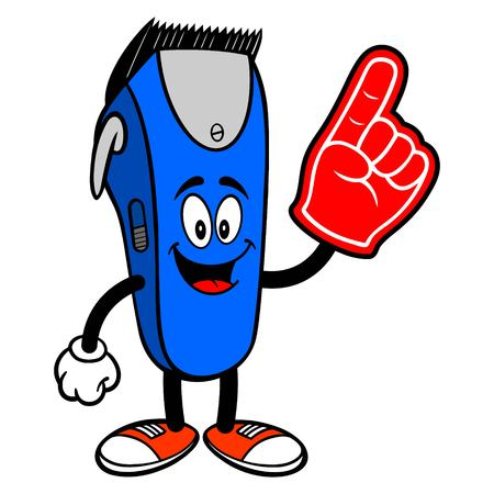Electrical Hair Clipper Mascot with a Foam Hand - A vector cartoon illustration of a barber shop electrical hair clipper mascot with a Foam Hand. Ilustração